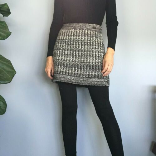 Chanel Cashmere Tweed Mini Grey Skirt, 38