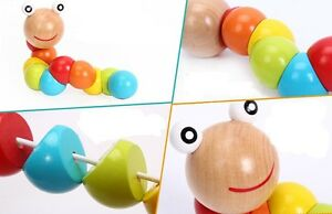 Chic-Wooden-Toy-Train-Child-Magical-Twisting-Insect-Kids-Puzzle-Fun-Toys-SI