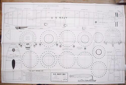 Star Pro U.S. Navy ZR3 Dirigible Model Airplane Plans Zepplin Blimp Steampunk