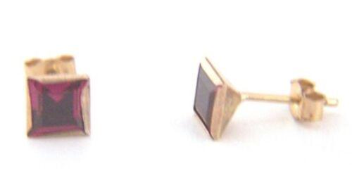 Damas Niñas Princesa Corte Cuadrado De Oro 9ct 5mm pendientes de rubíes de tacos B /'Day Sabor
