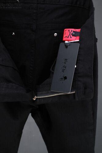 ByTheR Men/'s Fashion Urban Basic Black Slim Skinny Jean Stud Skull Denim Pants