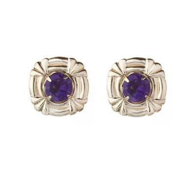 Amethyst Earrings Celtic Design Stud Solid 9 Carat Yellow Gold Studs