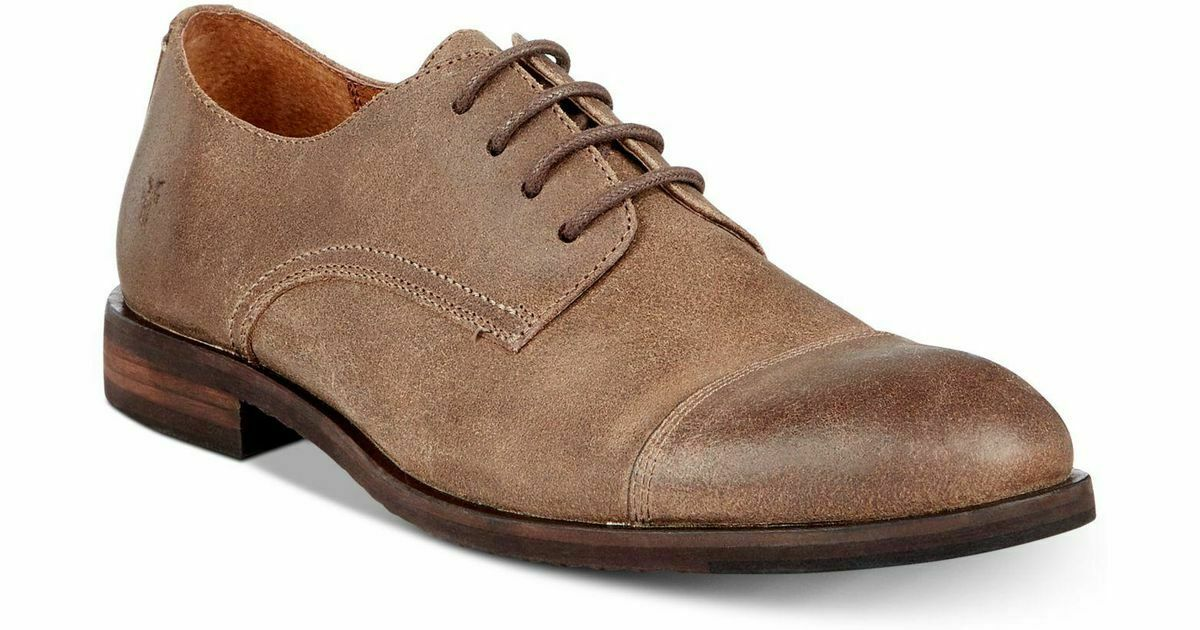 FRYE Men's Size 11M Taupe Leather Scott Cap Toe Oxford, Lace Up Dress shoes NWB