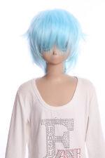 W-01-F8 hell-blau blue 35cm COSPLAY Perücke WIG Perruque Haare Hair Anime Manga