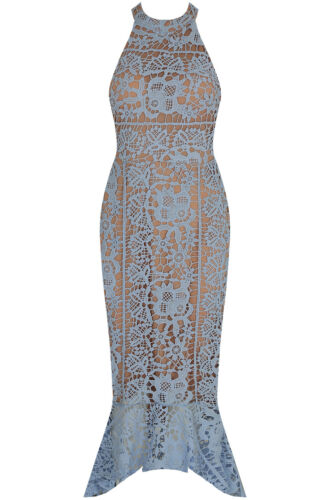 ~LUCY~ Blue Floral Bodycon Evening Party Occasion Wiggle Midi Dress 8 10 12