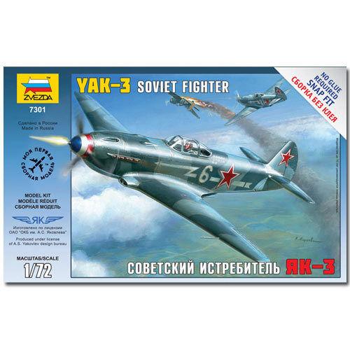 ZVEZDA 7301 Yak-3 Soviet Fighter Snap Fit Aircraft Model Kit 1:72