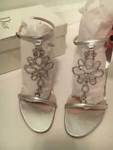 43bec4080d4 Image is loading Christian-Dior-silver-strappy-sandals-with-Crystal-Flower-