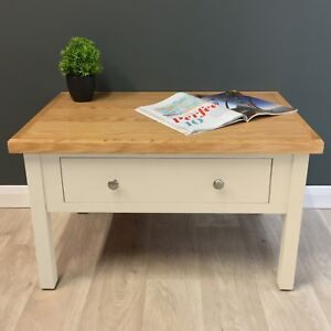 Image Is Loading Cream Painted Oak Coffee Table Cotswold Storage Drawers