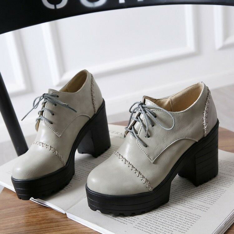 Spring Womens Chunky High Heels shoes Platform Pumps Oxfords Lace Up Creepers