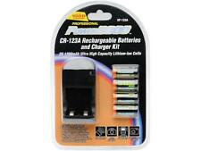 NEW Power2000 4 CR123A Lithium Rechargeable Batteries 110/220V and Rapid Charger
