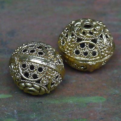 2, 4 od.6x  Ornament Metallperle Messing Bronze für Mittelalter Kette Loch1,5mm