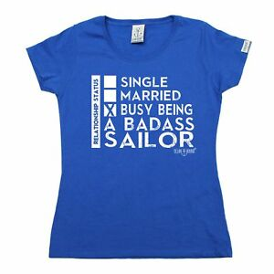 Ladies Sailing Busy Being A Badass Sailor yacht crew funny Birthday T-SHIRT