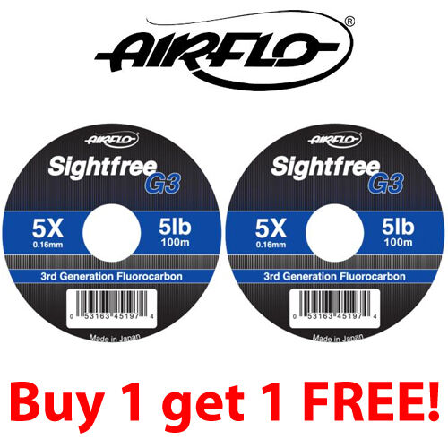 Buy One Get One Free Airflo G3 Sightfree Flurocarbon 100m ** 2019 Stocks ***