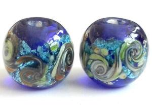 10pcs-handmade-Lampwork-glass-beads-glass-silver-foil-blue-round-14mm