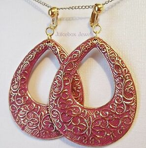 Clip-on Earrings Swirl Textured Silver or Gold Hoop Earrings 2 inch Hypoallergenic