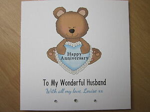 personalised handmade anniversary card husband fiance boyfriend