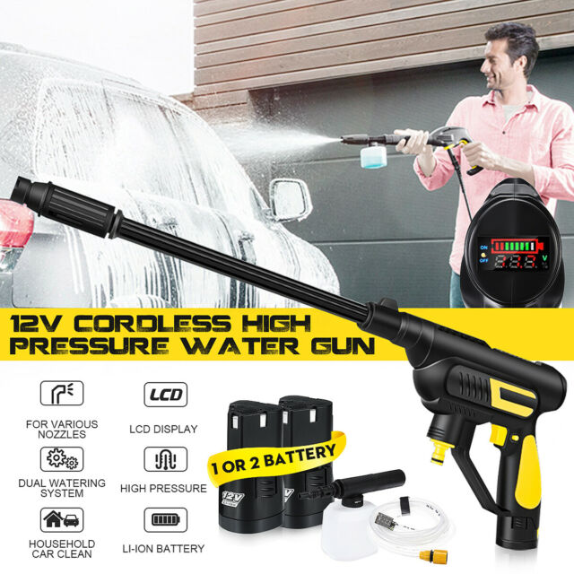 Cordless High Pressure Cleaner Washer Gun Water Hose Nozzle Pump 2x Battery NEW