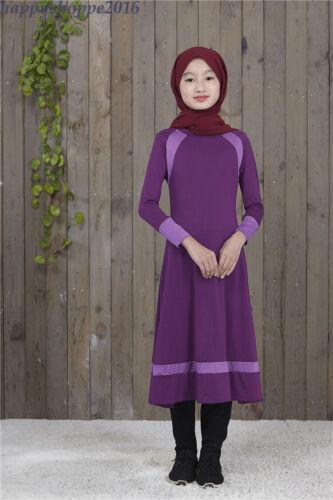 Muslim Traditional Kid Dress Abaya Arab Child Girl Long Sleeve Prayer Clothing