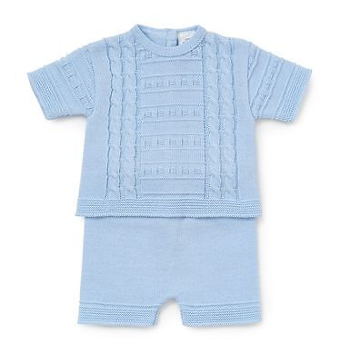 3-6months Spanish WEAR Baby Boys FINE Knitted Cable Design 2 Piece Short Set