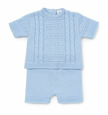 Baby Boys Fine Knitted Cable Design 2 Piece Short Set Pleasant In After-Taste
