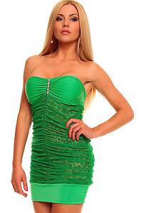 Abito-ricamato-pizzo-trasparente-Bandeau-Green-Mini-Dress-with-Animalistic-Touch