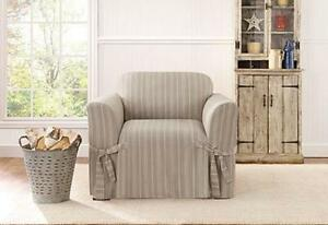 chair sure fit slip cover slipcover grain sack stripe