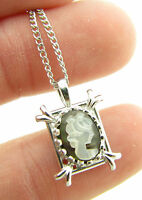 Vintage White Gold Filled Carved Cameo Lady Pendant Necklace