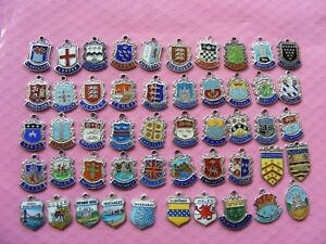 1) Various Vintage Sterling Silver Charm Charms Uk Travel Shield