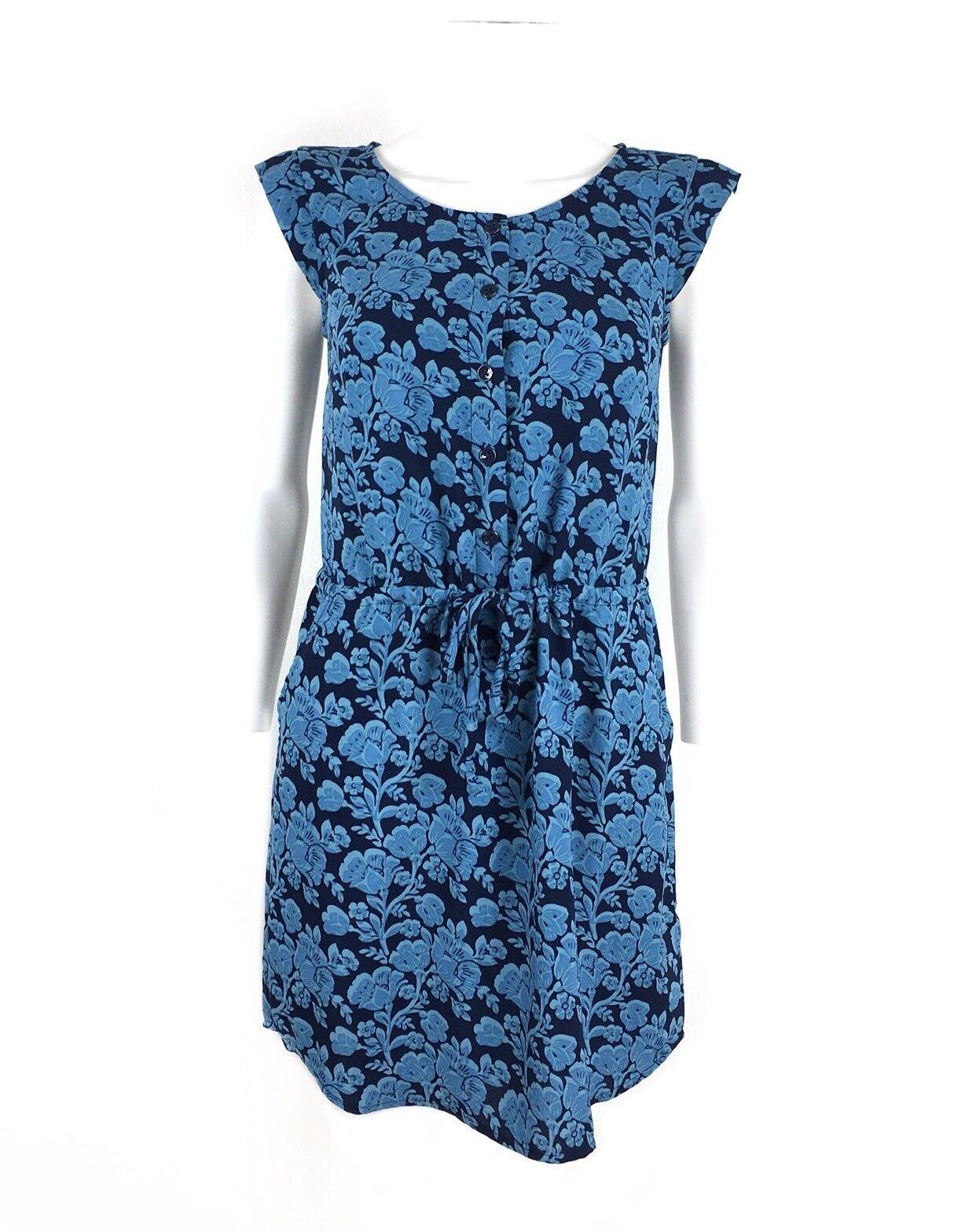 CAbi Woherren Java Dress Blau Floral Style 5265 Drawstring Waist Größe XS