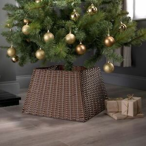 Xmas christmas tree rattan wicker skirt stand base basket cover tidy decor ebay - Arbol navidad ratan ...