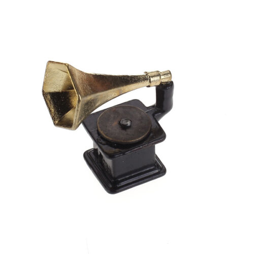 1/12 Retro Dolls house miniature gramophone Phonograph Music Room Acc