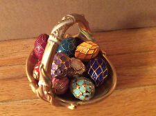 Franklin Mint Faberge spring easter  basket with eggs 9 eggs