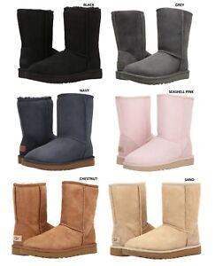 NEW-UGG-Brand-Women-039-s-Classic-Short-II-Boots-Shoes-Black-Chestnut-Grey-Sand-Navy