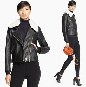 Details about Rag & Bone Minerva Shearling Collar Textured-Leather Moto  Jacket sz 0 (XS) $1695