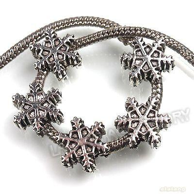 25pcs Wholeslae Antique Silver Christmas Snowflake Charms Bead Fit Bracelets J