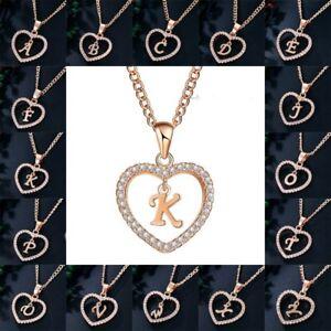 Fashion Gold Tone Initial Alphabet Letter A-Z Love Heart Pendant ... a0b58206de45
