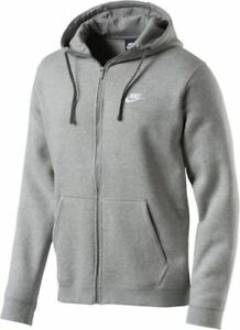 Herren NEU Brushed Fleece Hoody Kapuze Sweatjacke Grau Club NIKE Full zu Zip Details nX8Pk0wO