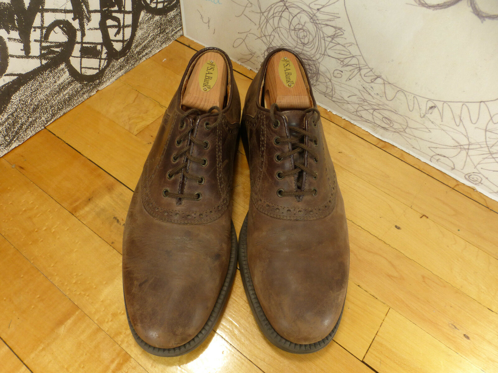 Johnston Murphy Waterpreoof Leather Saddle Oxfords 20-4960 9.5M Made in
