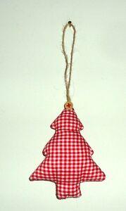 Shabby-Chic-Red-amp-White-Gingham-Soft-Xmas-Tree-Hanging-Decoration-12x9cm