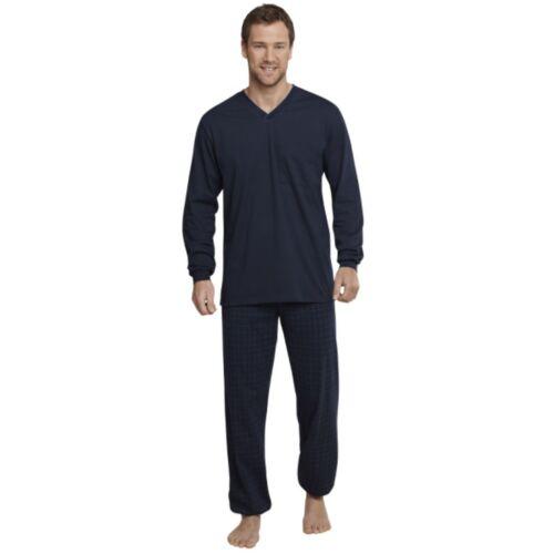 Schiesser Homme Pyjama Pyjama long bleu foncé exclusif