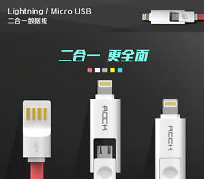 Rock 2 In 1 USB Charging 1M Data Cable For iphone 5 5S 6 6S +, Samsung, Xiaomi