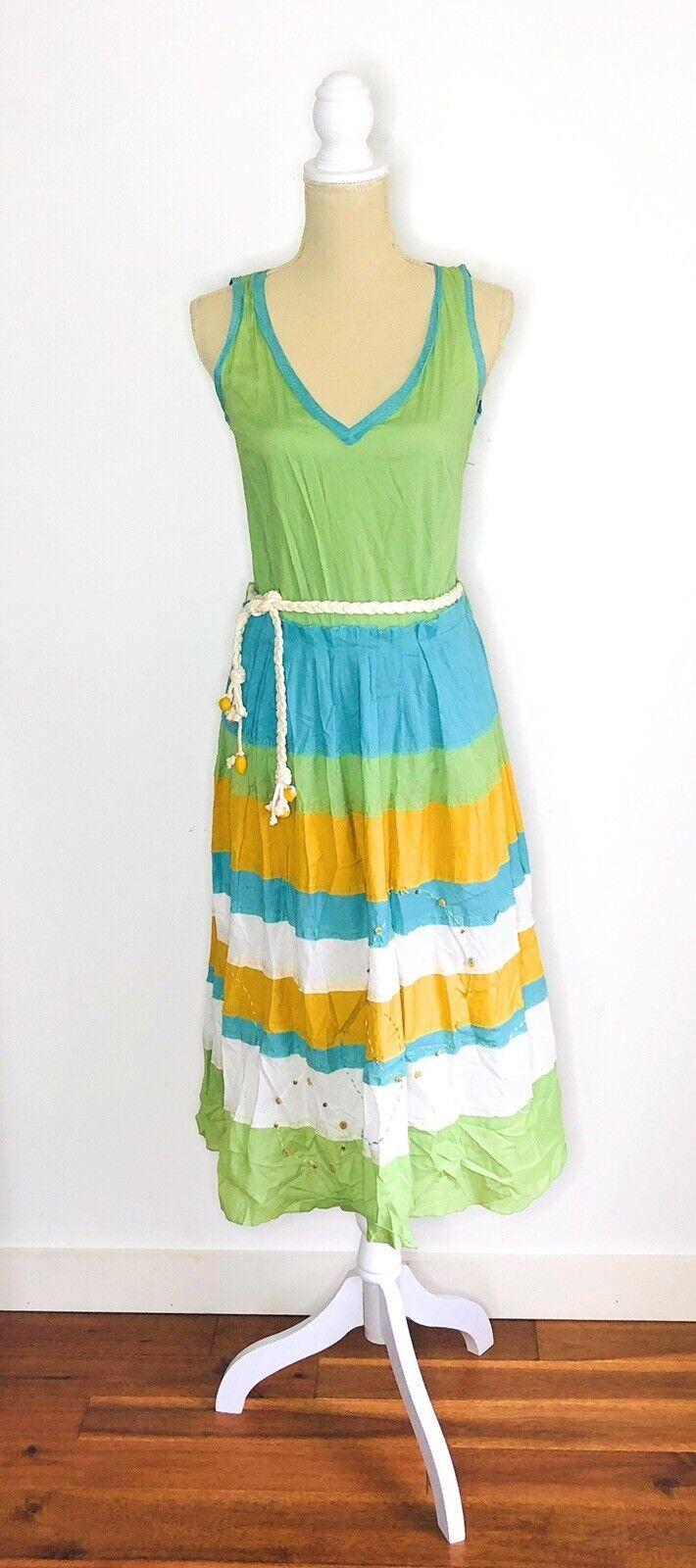Aquarius Anthropologie Sleeveless Dress Braided Belt Hobo Hippy