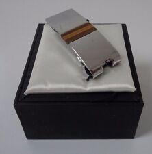 TIE RACK silver effect / tiger's eye semi precious stone money clip NEW W/ BOX!
