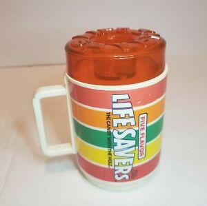 Vintage-Deka-Plastic-Life-Savers-Coffee-Mug-Sippy-Cup-Drink-Glass-Red-Cherry-Lid