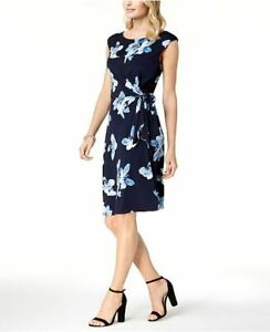 191017f667b Details about NEW  170 CONNECTED WOMENS BLUE FLORAL-PRINT SHORT-SLEEVE FAUX-WRAP  DRESS SIZE 14