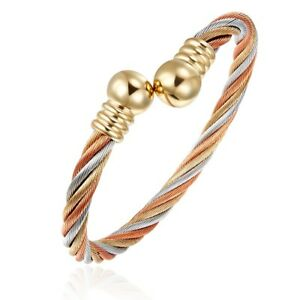 Tri-Colour-Steel-Magnetic-Bangle-Style-Bracelet