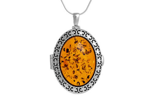 Chain 100/% Sterling Silver 925 Oval Locket Opening Pendant Necklace Large Amber
