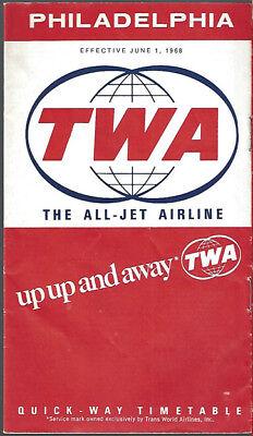 7114 Buy 4 Save 50% Twa Philadelphia Timetable 6/1/68