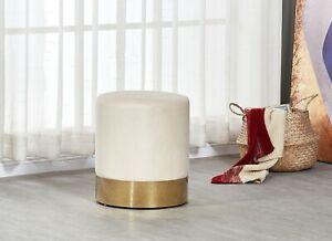 Dolce Cream Velour Velvet Ottoman Footstool With Chrome Surround Stool Seat Ebay