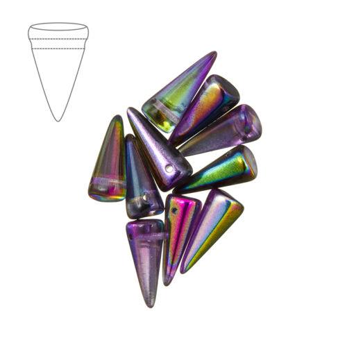 M41//1 Czech glass spike bead crystal magic violet 7x17mm pack de 10